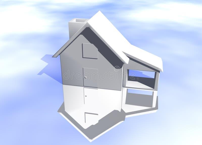 Plain White House Model Starter Home. Plain White House Model on Blue-Sky Background with Reflection Concept Start Home or New Buyer royalty free illustration