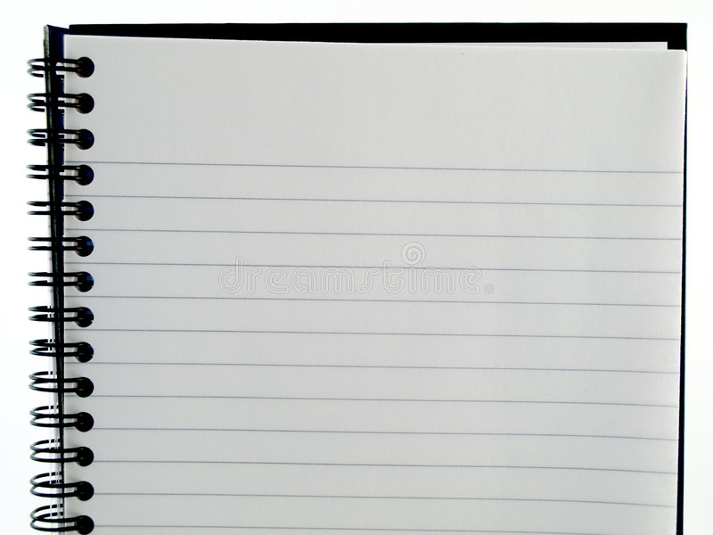 Plain White Lined Ringbound Notebook Page Of Paper Stock