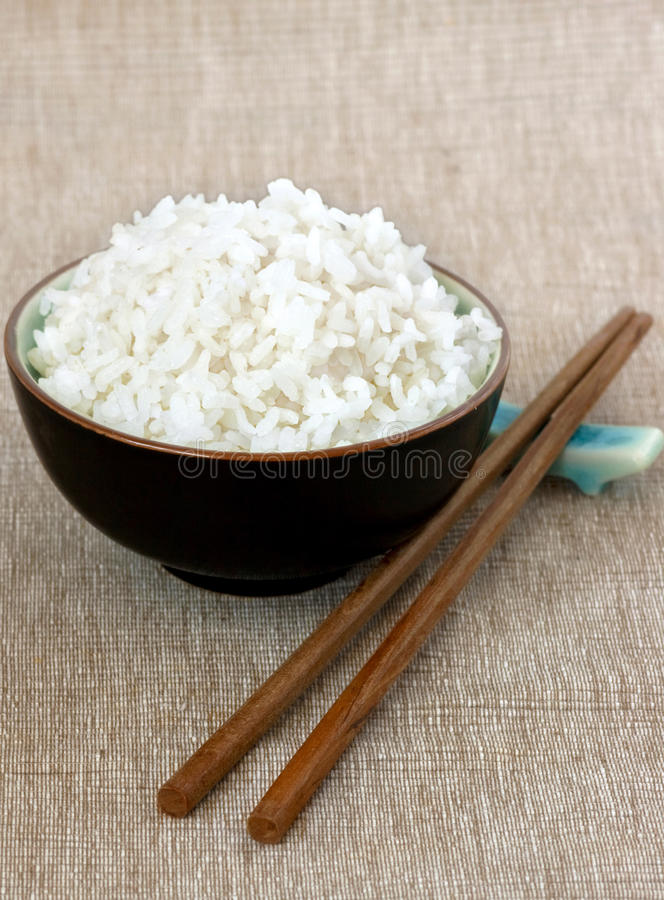 Plain White Rice With Chopsticks Stock Photo - Image of ...