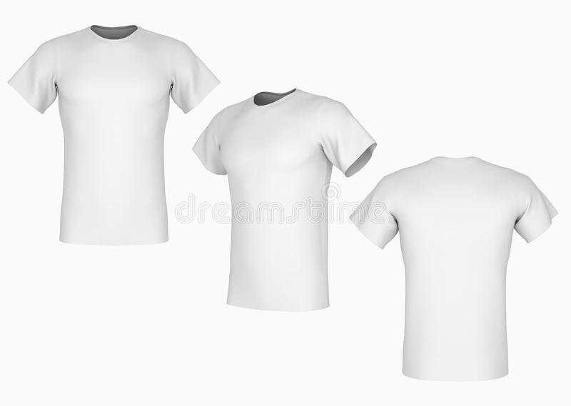 Plain white t-shirt. Template on isolated background vector illustration