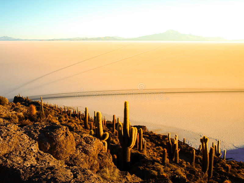 Plaine de sel de lever de soleil et d'Uyuni image libre de droits