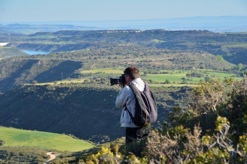 Plaine espagnole avec une rivière dans le canyon, Hoya De Huesca images libres de droits