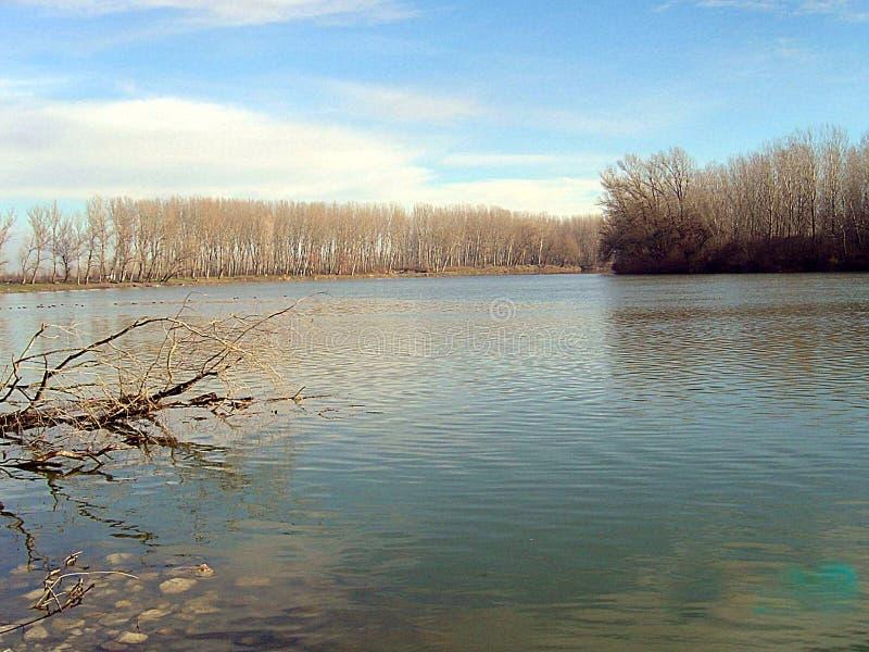 Plains o rio no dia de inverno ensolarado foto de stock royalty free