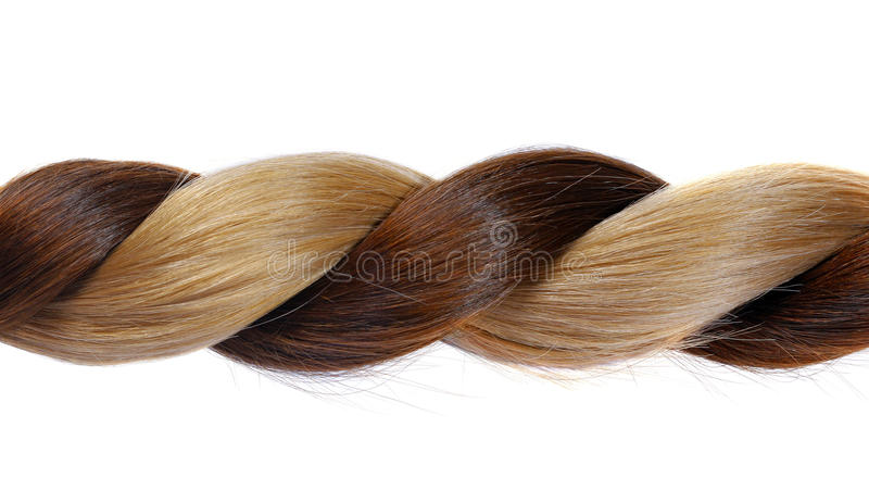 Plait from natural hair. Plait from natural brown and blond hair on a white background stock image