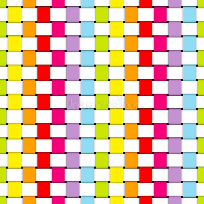 Seamless Pattern Plaited Paper Stripes Rainbow Colors And White stock illustration