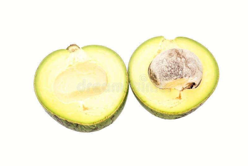 Plak Enige groene Thaise avocado op witte achtergrond stock afbeeldingen