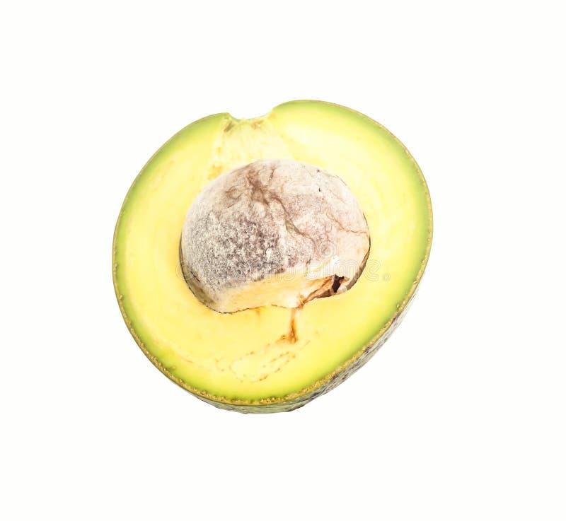 Plak half groene Thaise avocado op witte achtergrond stock fotografie