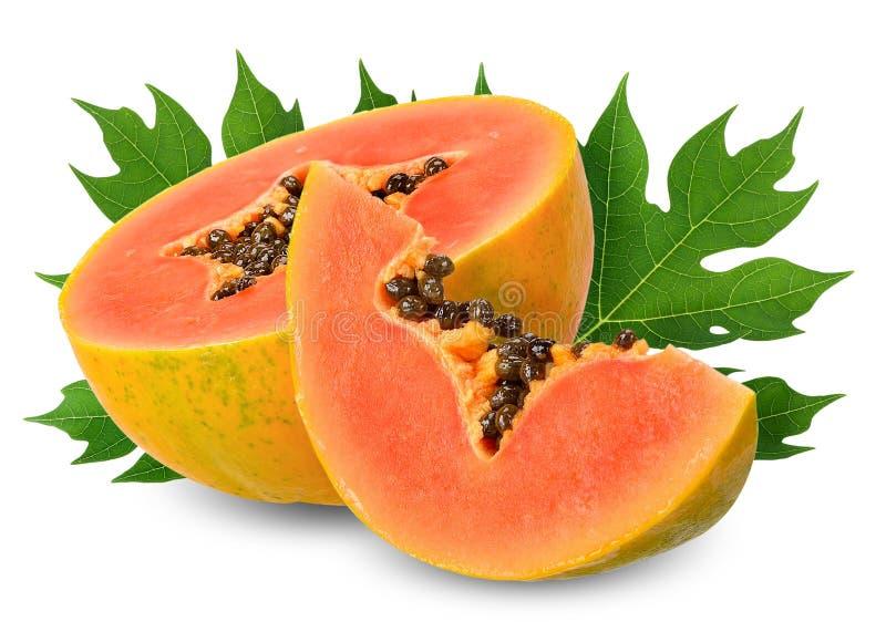 Plak halve die papaja op witte het knippen weg wordt geïsoleerd royalty-vrije stock afbeelding