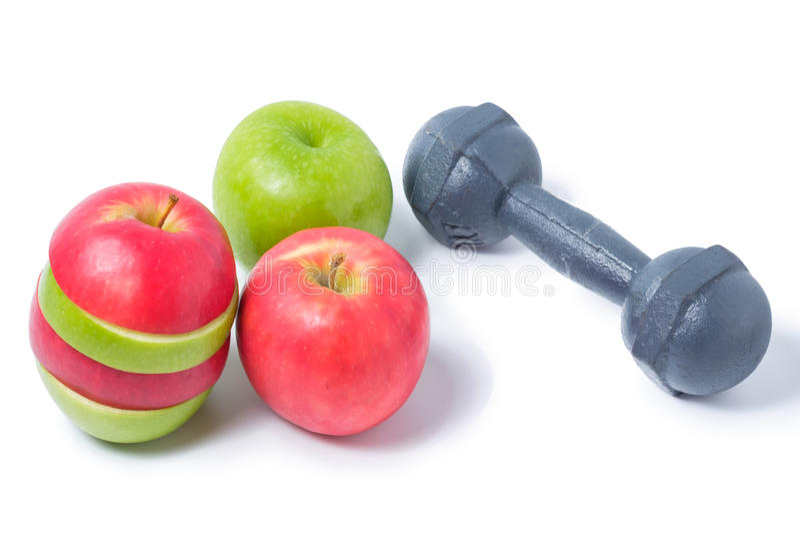 Plak rode en groene appelen met domoor royalty-vrije stock foto's