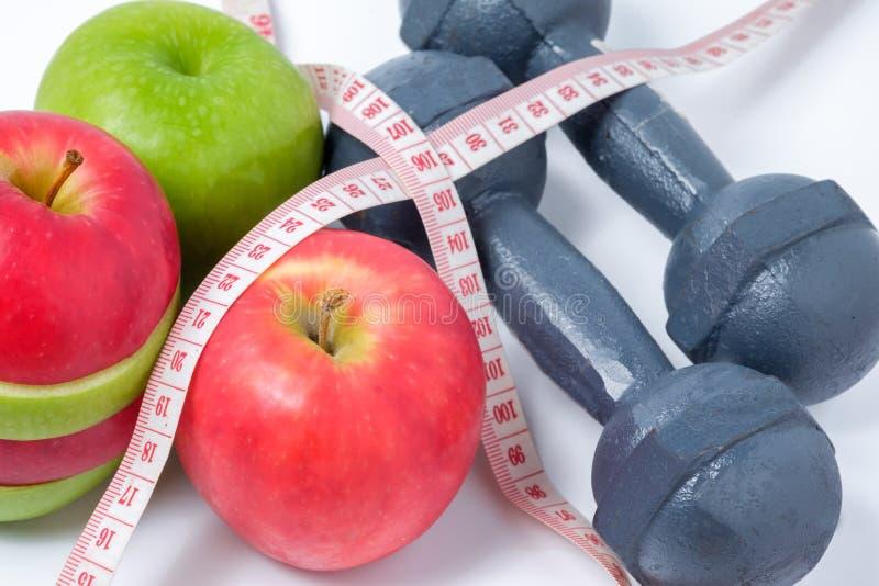 Plak rode en groene appelen met domoor stock afbeelding