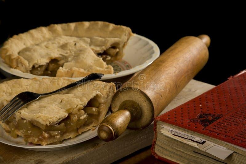 Plak van appeltaart met vork. royalty-vrije stock foto