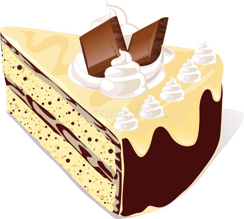 Plak van chocoladecake royalty-vrije illustratie