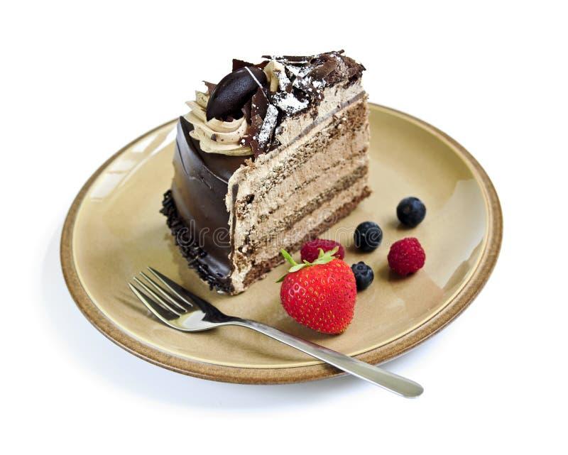 Plak van chocoladecake royalty-vrije stock foto