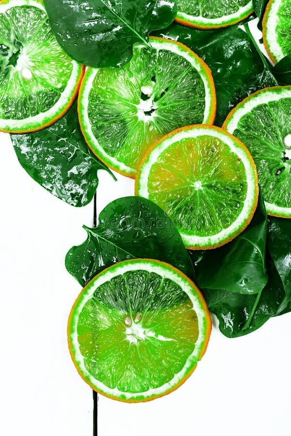 Plak van groene citrusvrucht over witte achtergrond royalty-vrije stock foto's