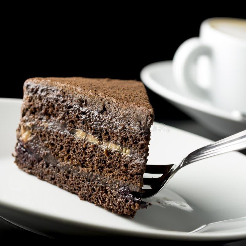 Plak van heerlijke chocoladecake royalty-vrije stock foto
