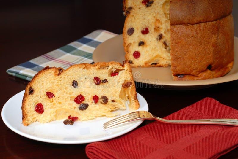 Plak van het Italiaanse brood van Kerstmis Panettone royalty-vrije stock afbeelding