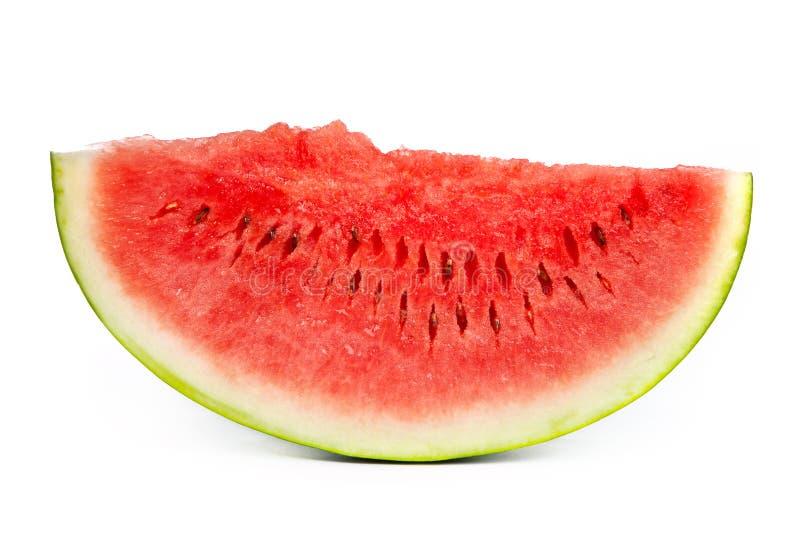Plak van Watermeloen die op wit wordt geïsoleerdp stock foto