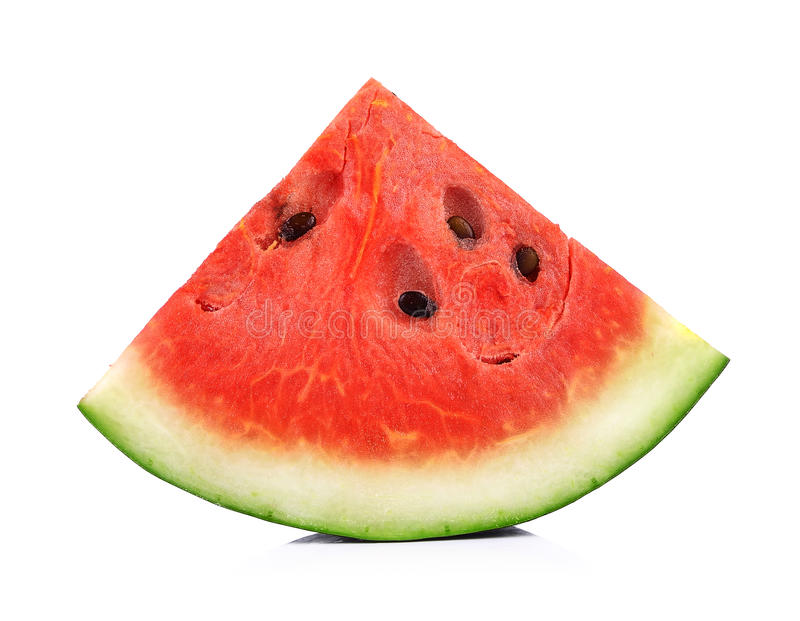 Plak van watermeloen op een witte achtergrond stock foto