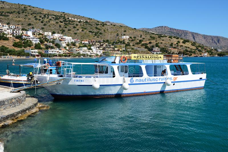 The motor yacht tour to Spinalonga island royalty free stock images