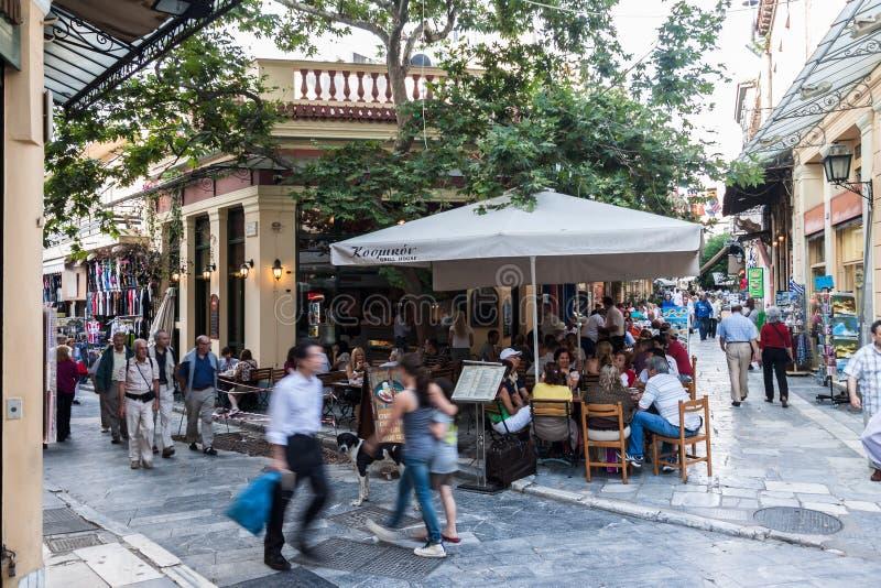 Plaka-Nachbarschaft Athen Griechenland stockfotos