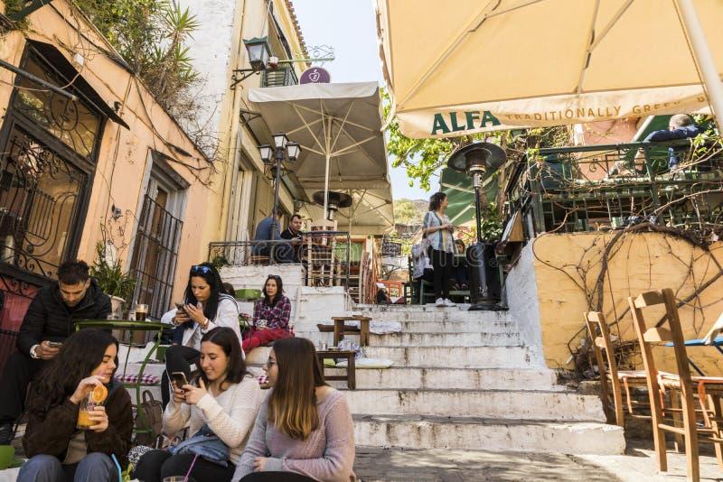 Plaka street, Athens, Greece royalty free stock image