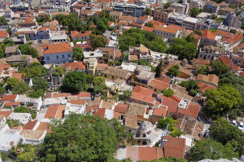 Plaka, viejo centro de ciudad de Atenas, visión aérea fotos de archivo libres de regalías