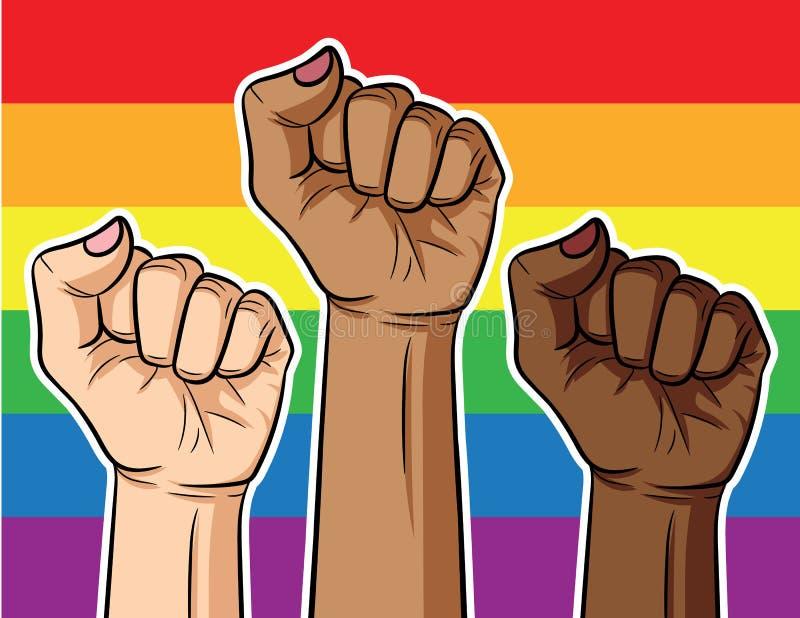 Plakat über den Kampf der LGBT-Gemeinschaft der verschiedenen Rennen auf dem Hintergrund der Regenbogenflagge stock abbildung