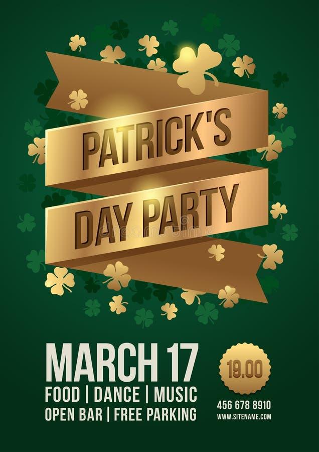 Plakat świętować St Patrick ` s dzień Złocista taśma z inskrypcją: ` Patrick ` s dnia przyjęcia ` i złoto koniczynowi liście royalty ilustracja