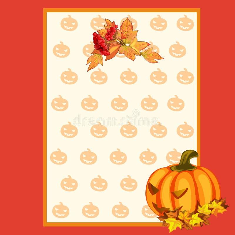 Plakat auf Thema von Halloween-Urlaubsparty oder von Grußkarte mit Raum für Ihren Text Reifer Kürbis mit geschnitzten Augen und stock abbildung