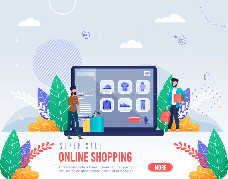 Plakat-Aufschrift-Superverkaufs-on-line-Einkaufen lizenzfreie abbildung