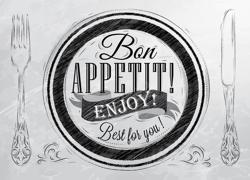 Plakat Bon appetit. Kohle. vektor abbildung