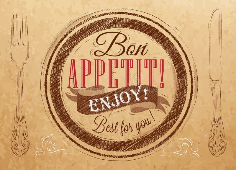 Plakat Bon appetit. Kraftpapier. vektor abbildung