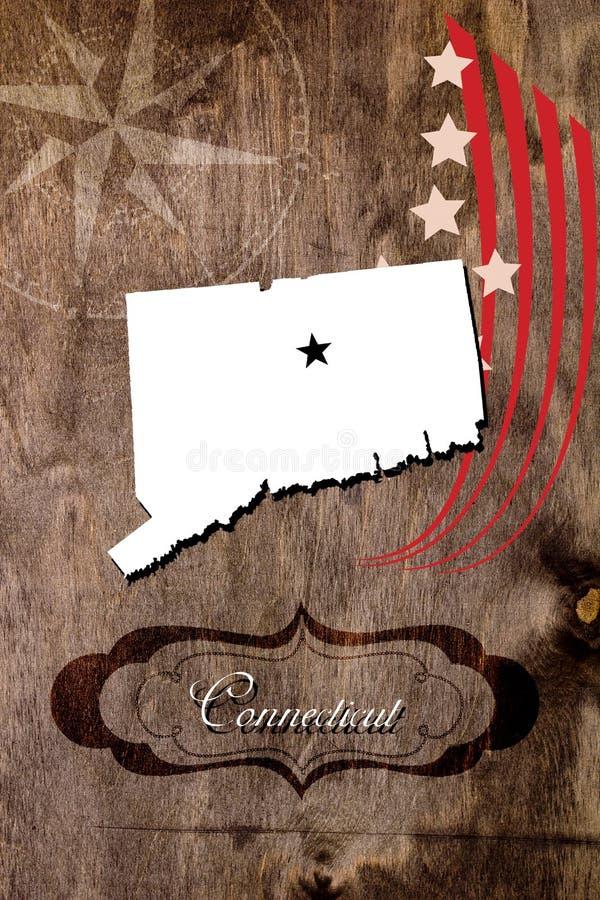 Plakat-Connecticut-Staatskartenentwurf stockbild