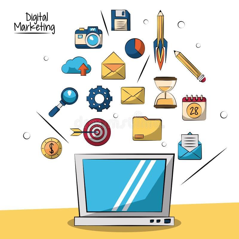 Plakat cyfrowy marketing z laptopem w zbliżeniu i małymi marketingowymi ikonami w tle ilustracji
