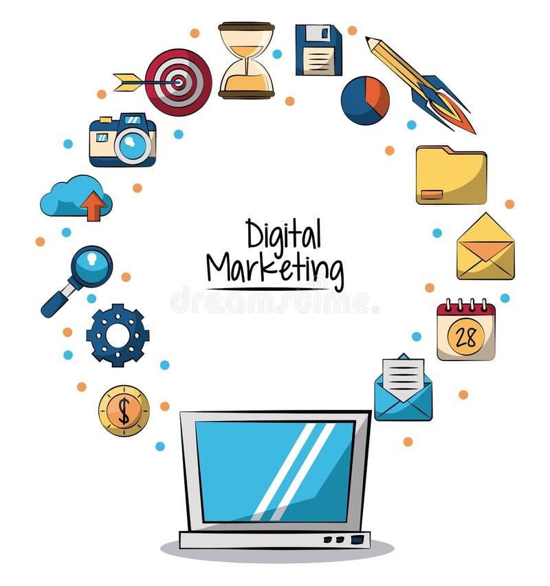 Plakat cyfrowy marketing z laptopem wokoło w zbliżeniu i marketingowe ikony na on ilustracji