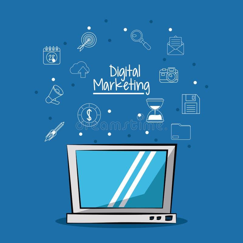 Plakat cyfrowy marketing z laptopu i nakreślenia tłem marketingowe ikony ilustracji
