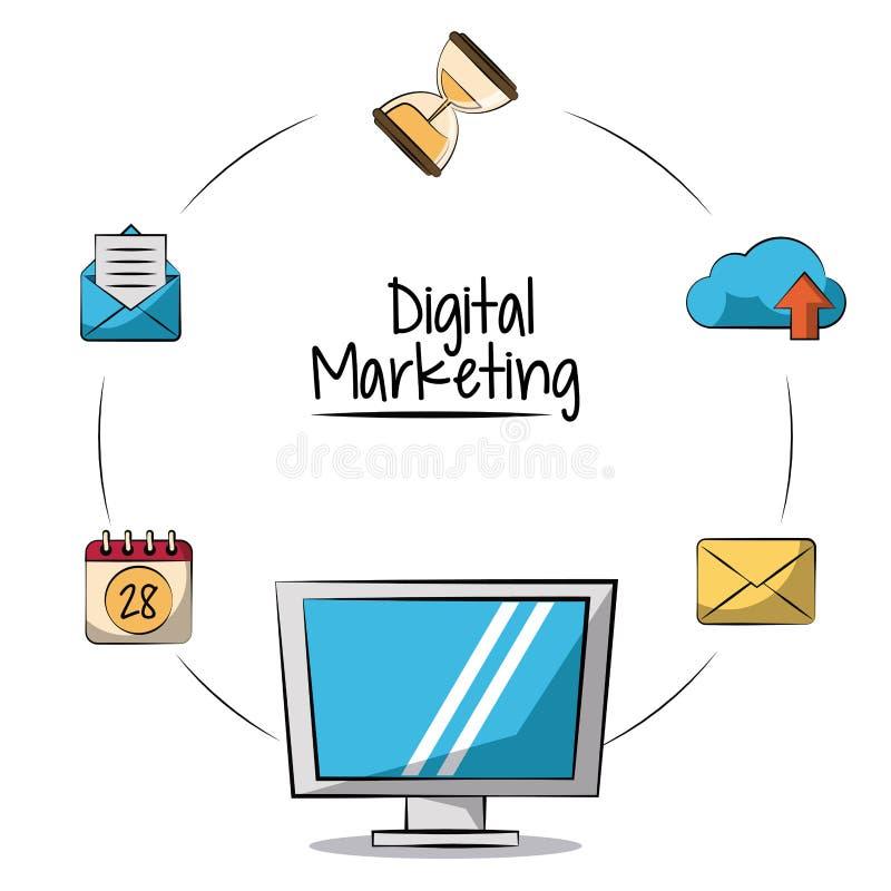 Plakat cyfrowy marketing z lcd monitorem wokoło w zbliżeniu i marketingowych ikonach royalty ilustracja