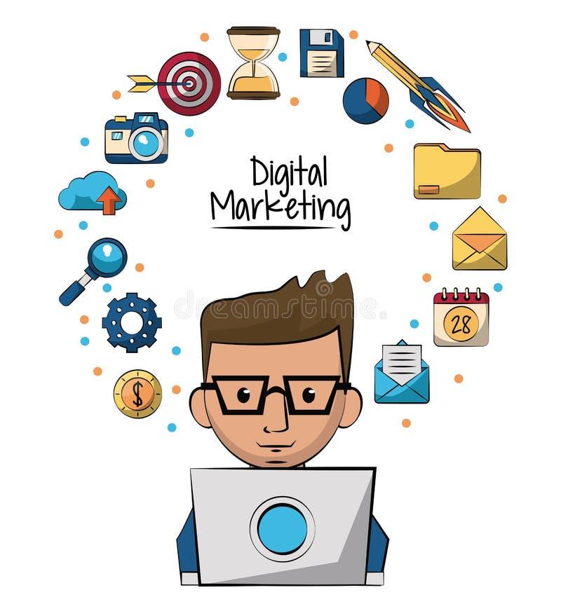 Plakat cyfrowy marketing z mężczyzna pracuje w laptopie w zbliżeniu wokoło i marketingowe ikony on ilustracja wektor