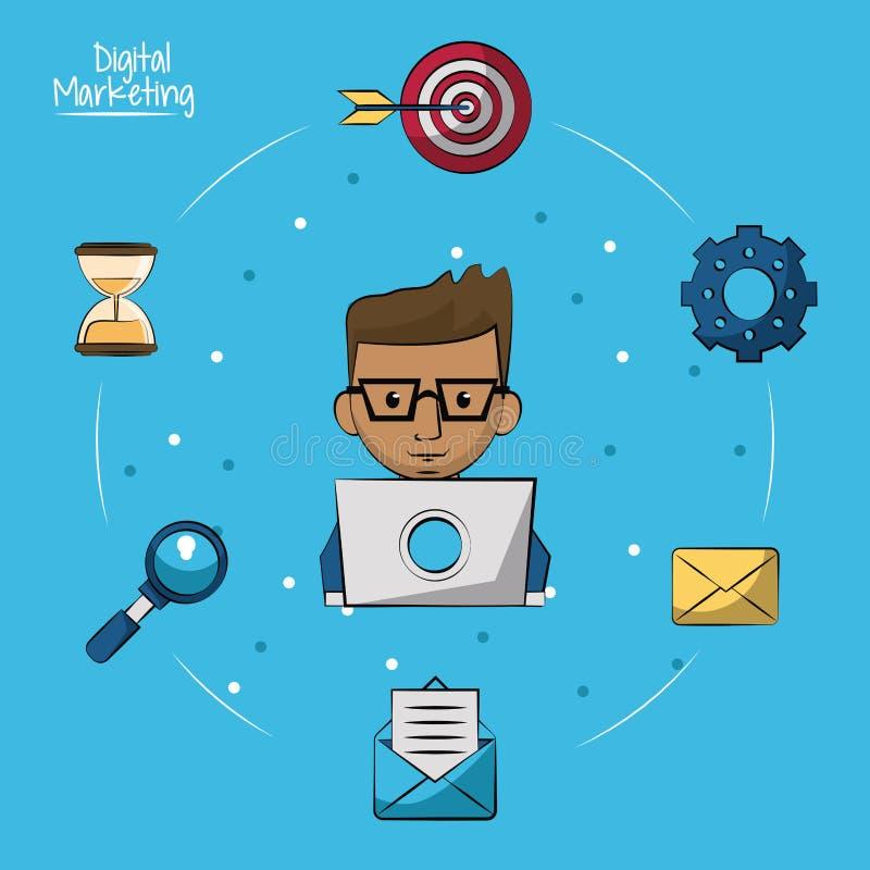 Plakat cyfrowy marketing z mężczyzna pracuje w laptopie w zbliżeniu wokoło na on i marketingowe ikony royalty ilustracja