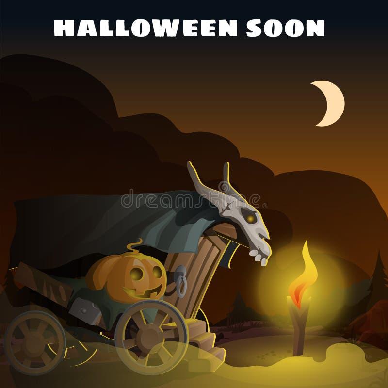 Plakat in der Art des Feiertags alle schlechte Halloween-Partei Wenig furchtsames Haus auf Rädern mit einem Kopf des Kürbis- und  stock abbildung