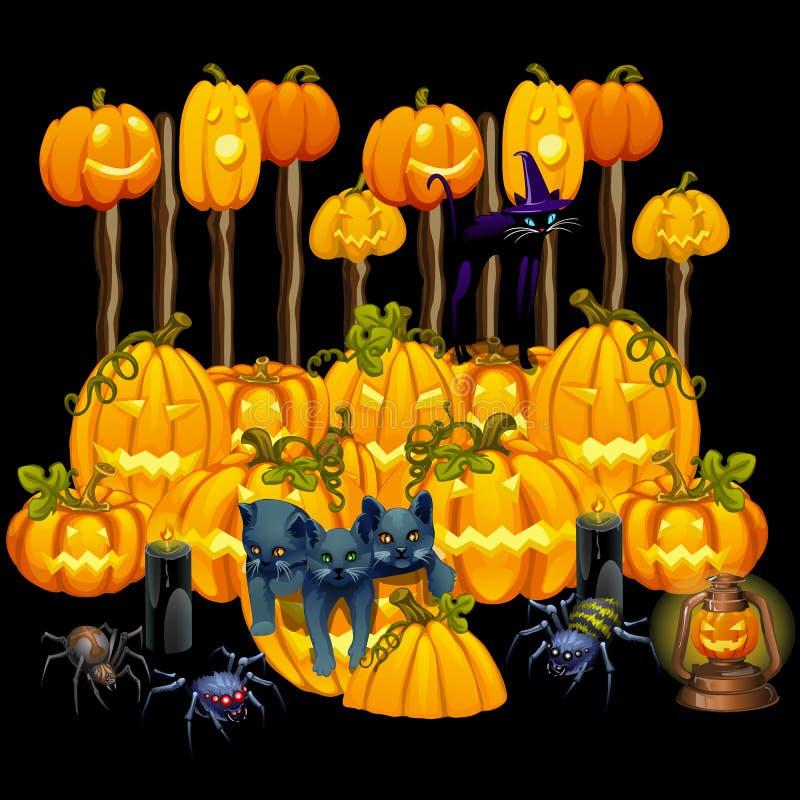 Plakat in der Art des Feiertags alles schlechte Halloween Drei graues Kätzchen und Kürbise um Mitternacht Glühende Jack-O-Laterne stock abbildung