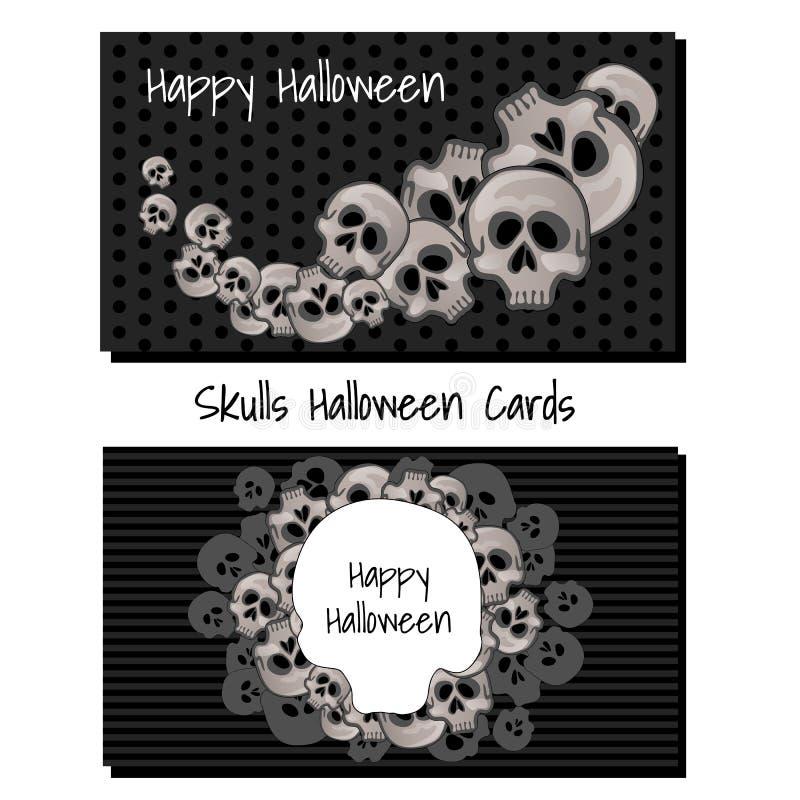 Plakat in der Art des Feiertags alles schlechte Halloween lokalisiert auf weißem Hintergrund Menschlicher Schädel auf schwarzem H stock abbildung