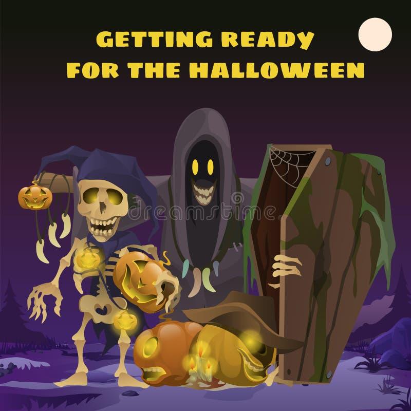 Plakat in der Art des Feiertags alles schlechte Halloween Vogelscheuche in Form von Geistern im Hoodie um Mitternacht durch das L stock abbildung