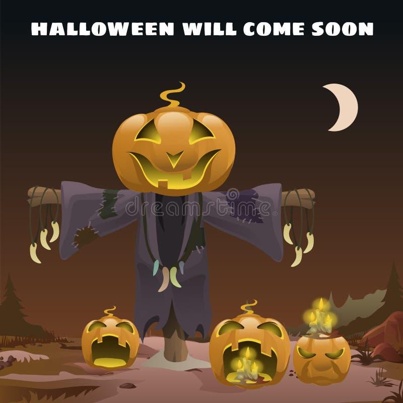Plakat in der Art des Feiertags alles schlechte Halloween Vogelscheuche mit einem Kopf des Kürbises um Mitternacht durch das Lich stock abbildung