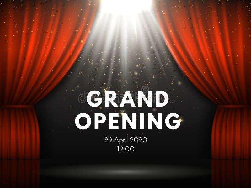 Plakat der festlichen Eröffnung mit roten Vorhängen in Theaterstadium Theatervorhang, Goldfunken und Scheinwerfer strahlen auf dr stock abbildung