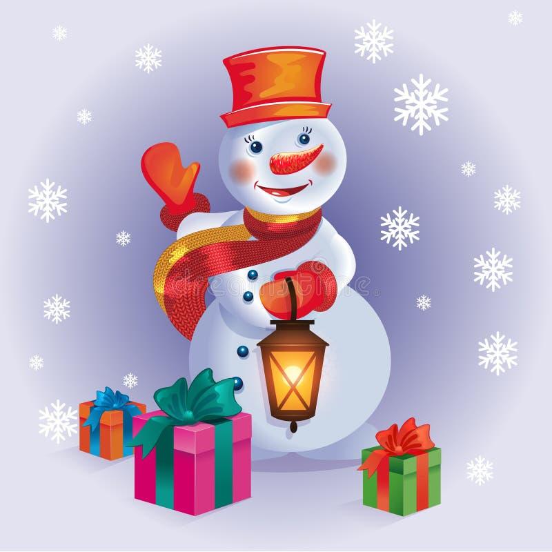 Plakat der frohen Weihnachten mit Schneemann und Geschenken auf Winterwald b lizenzfreie abbildung