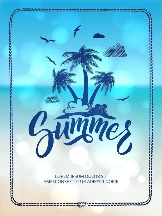 Plakat der glücklichen Sommerzeit Postkartendekoration mit Hand gezeichneten Buchstaben und Wörtern Auch im corel abgehobenen Bet lizenzfreie abbildung