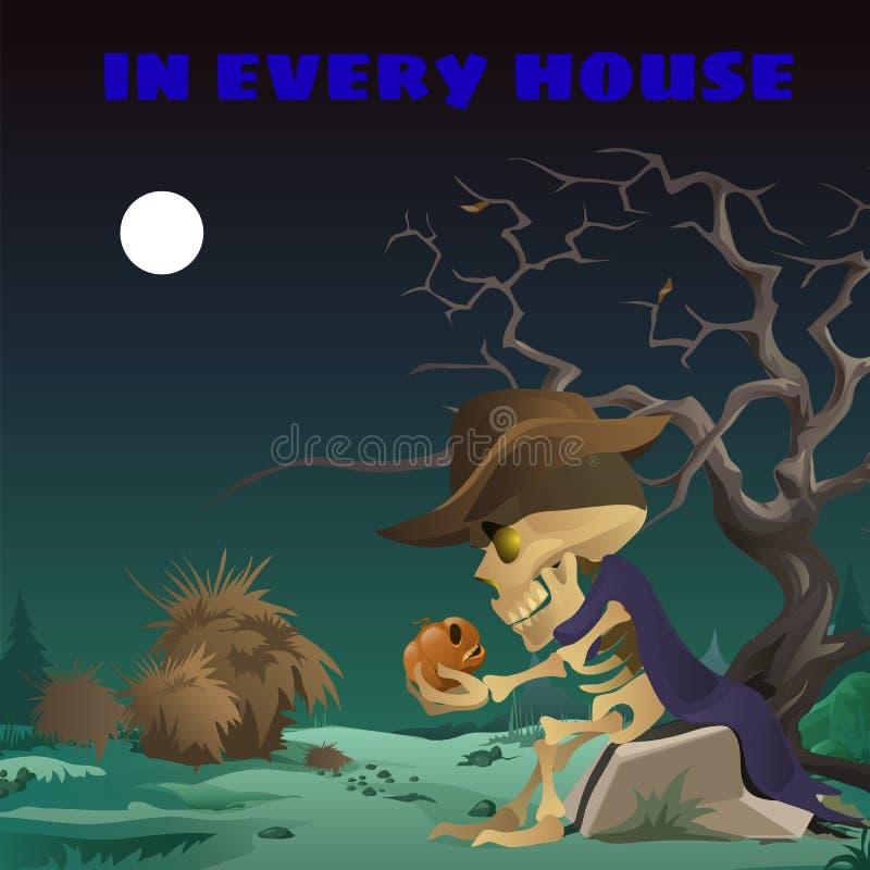 Plakat in der wilden Westart am Feiertag alles schlechte Halloween Das Skelett eines Mannes in einem Hut, der auf einem Felsen na vektor abbildung