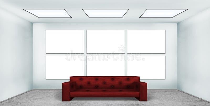 Plakat des freien Raumes sechs im Dachbodenraum lizenzfreie abbildung