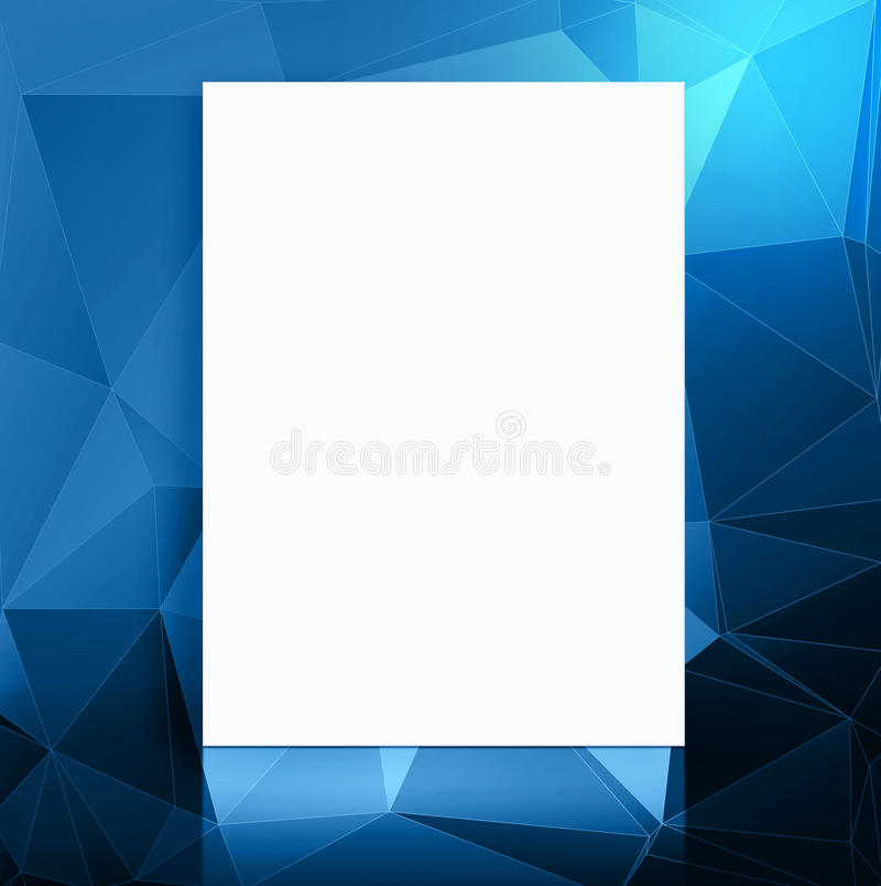 Plakat des leeren Papiers in den blauen Polygonen kopieren Studioraum, Schablone stock abbildung